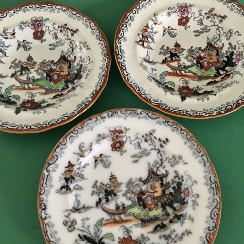 Morley Ashworth Mason | Antique | Willow Pattern | Plate x 3